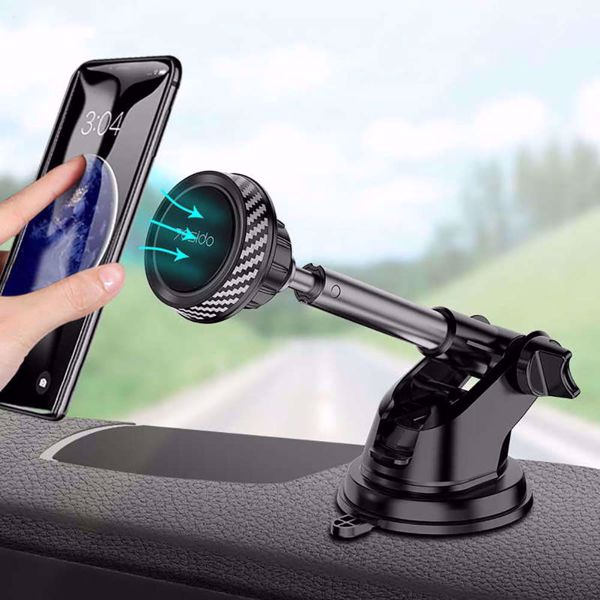 Albedaia Shop. Yesido Telescopic Magnetic Car Phone Holder Stand Dashboard Windshield 360° Rotatable Metal Sucker Car Mount
